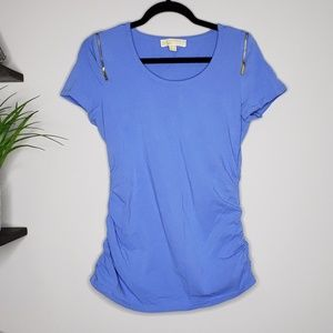Michael Kors Blue Zipper Shoulder Ruched Sides Top